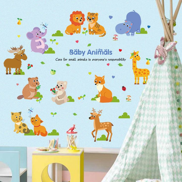 Çocuk ve Bebek Odası Dekorasyonu Duvar Dekoru Yavru Hayvanlar Duvar Sticker