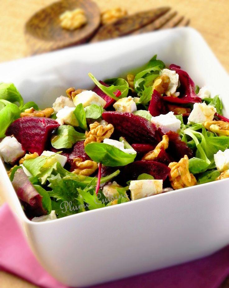 Salade de betterave au chèvre et aux noix.