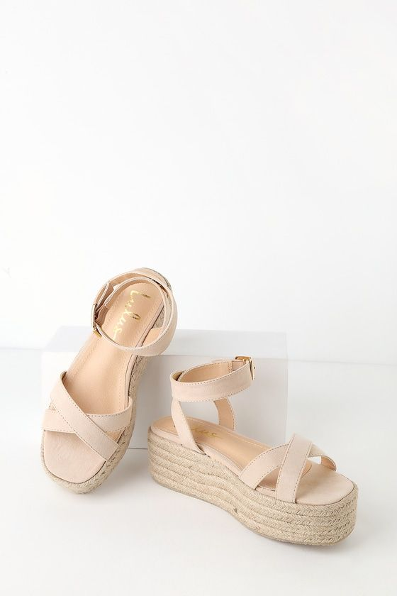 d4a7deaa0e1 Step into sunny vibes with the Cobi Nude Espadrille Platform Sandals! Soft