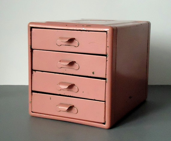 Vintage Small Parts Metal Storage Box Pink Kennedy Tool Cabinet Chest Desktop Ideas Craft Es