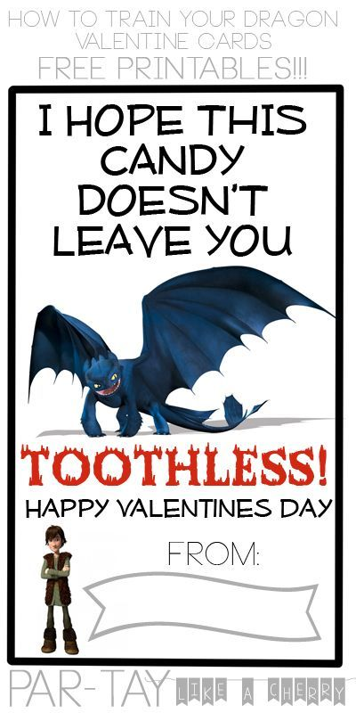 free printable How to Train Your Dragon valentines cards