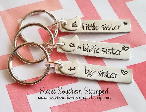 Sisters Keychain Set  Big Middle Little by SweetSouthernStamped