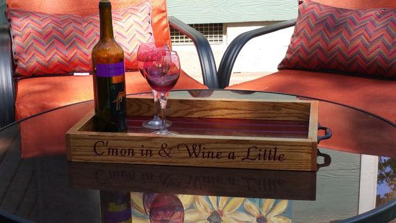 Custom Wine Gift Wood Oak Ottoman Tray by greencottagedesign
