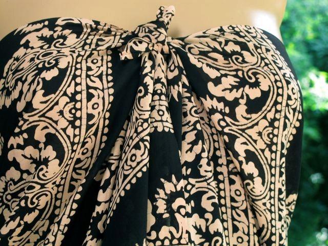 Sarong,Pareo, Black and white scarf,  Batik scarf. $32.00, via Etsy.