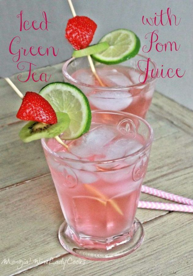 Iced Green Tea With Pom Juice a refreshing drink for bridal or baby showers or any summer gathering.