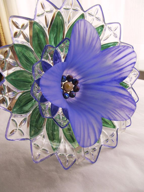 garden art glass plate flower sun-catcher yard by Adelicatetouch1