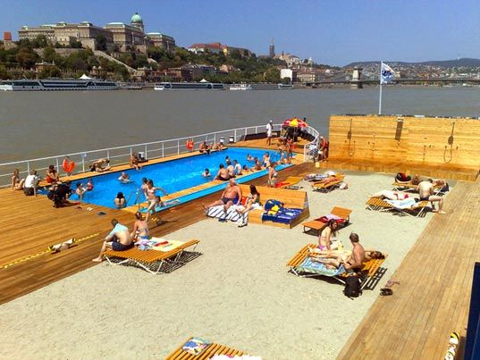 green design, sustainable design, barge beach budapest, public space, urban design, summer, pool, danube river