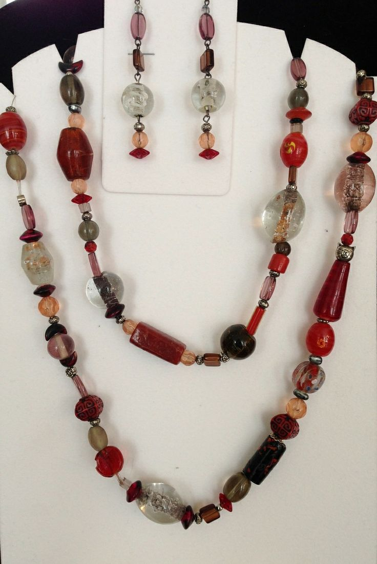 Jewelled Designs - Red Tones Necklace set, $75.00 (http://www.jewelleddesigns.com/red-tones-necklace-set/)