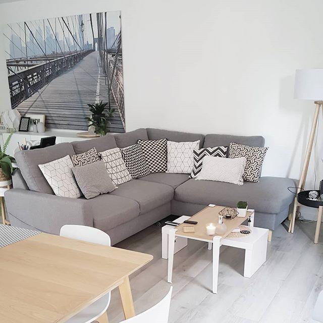 Gray Living Room With Light Wood Floor Gray Small White Scandinavian Coffee Table And Wood Nice Gray Corner Living Room Grey Grey Wood Floors Grey Corner Sofa