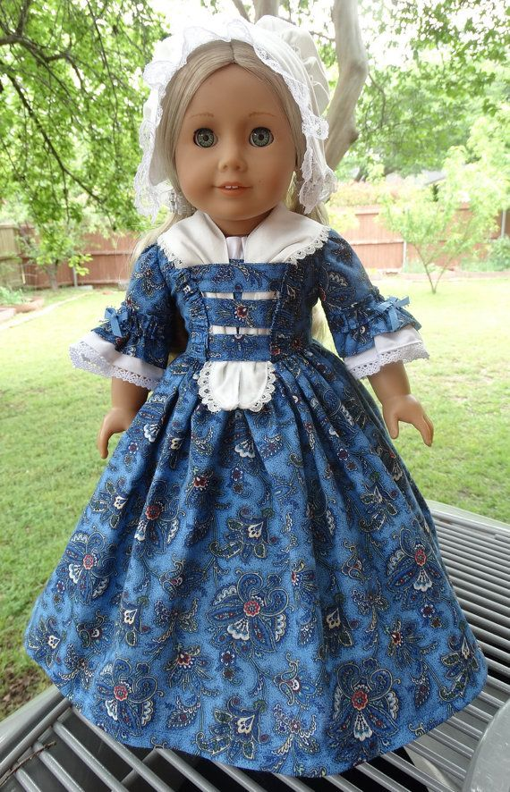 Colonial Style Dress, Fichu, Cap and Slip for American Girl dolls Felicity, Elizabeth, Caroline, by Designed4Dolls on Etsy $36.95