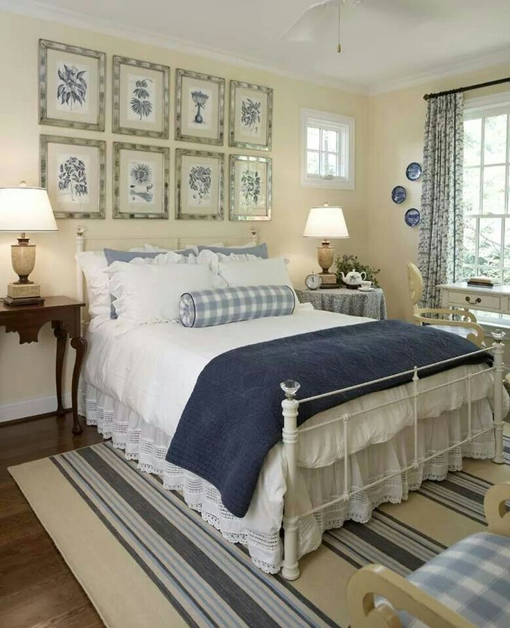Cottage Style... really sweet master suite; needs a white fireplace with delftware tile surround! instead of botanical prints, have ocean photos
