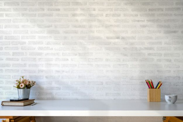 White Table Workspace With Supplies And Copy Space White Table Living Room Background Work Space