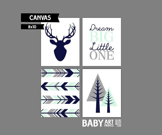 Mint, Navy, Grey Woodlands Nursery canvas art, Deer, Arrow, Tree, Dream Big Little One Set of 4 8x10. ( S81010132 )