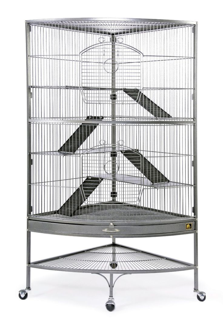 Prevue Pet Products Corner Ferret Cage saves space in your home while offering plenty of room for even the most energetic pets to run, jump and play. Cage comes complete with four levels of easy-to-clean ramps and shelving.