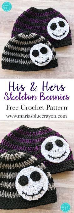 Crochet Skeleton Beanie | Skeleton Messy Bun Beanie Hat | Striped Crochet Beanie | Jack Skellington Beanie Hat | Nightmare Before Christmas | Free Crochet Pattern