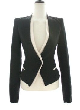 $35 Black Long Sleeve Contrast Trims Single Button Suit