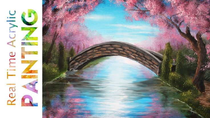 Painting A Spring Stream Bridge With Cherry Blossom Trees