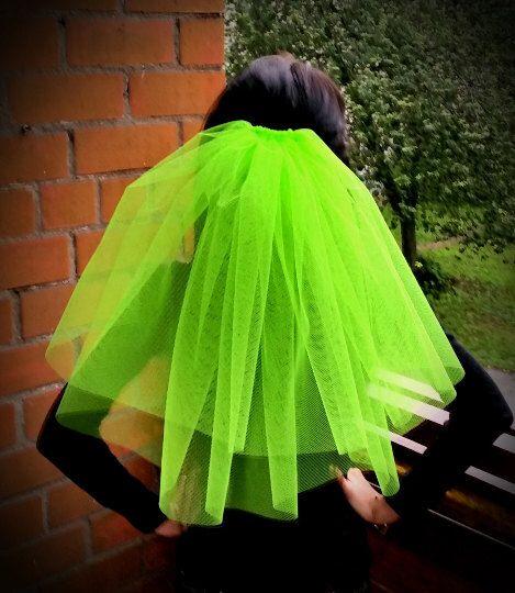 Bachelorette party Veil Bright 2-tier neon green veil, middle length. Bachelorette veil, wedding veil, hen party veil, idea, bridal shower by JulseraBoutique on Etsy https://www.etsy.com/listing/238986716/bachelorette-party-veil-bright-2-tier