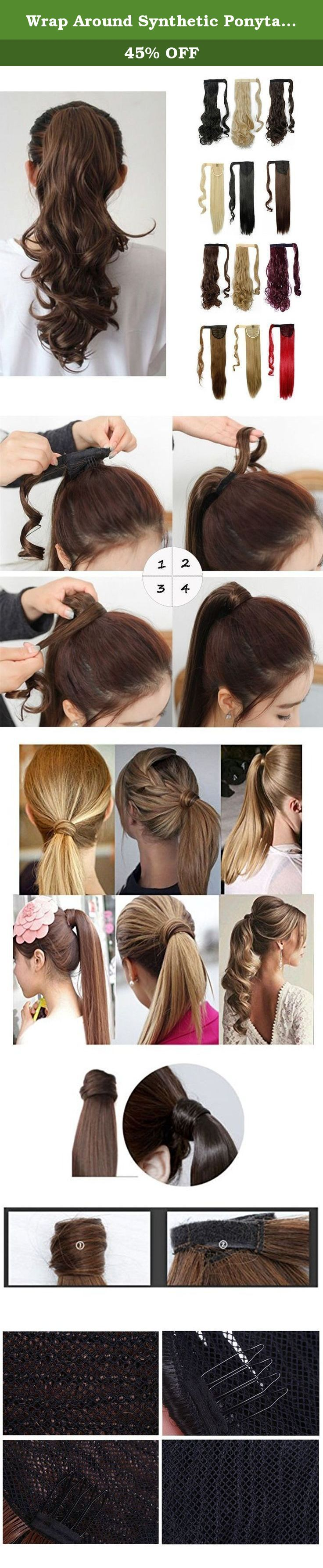 Wrap Around Synthetic Ponytail One Piece Heat Resistant Magic Paste Pony Tail Long Wavy Curly Soft Silky for Women Lady Girls 17'' / 17 inch (dark brown). Product information Materials: Kanekalon Fiber from Japan(also known as KK wire) Length: 17inch without stretching Suitable Occasions: daily use,Halloween,cosplay,club,concerts,costume,theme parties,bachelorette party,weddings,dating,conventions,masquerades,prom,evening out,carnival,April Fool's Day and any other occasions. Also will be...