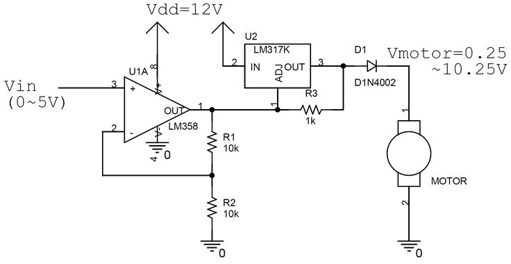 speed controller schematic lm317   lm358
