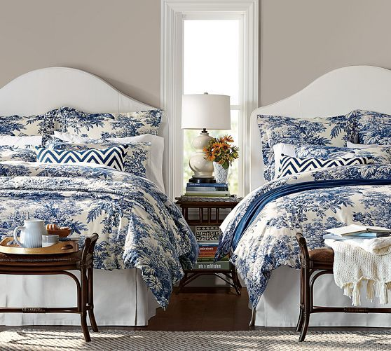 love this bedroom  Matine Toile Duvet Cover   Sham   Twilight Blue    Pottery Barn. 48 best Bedrooms images on Pinterest   Home decor  3 4 beds and
