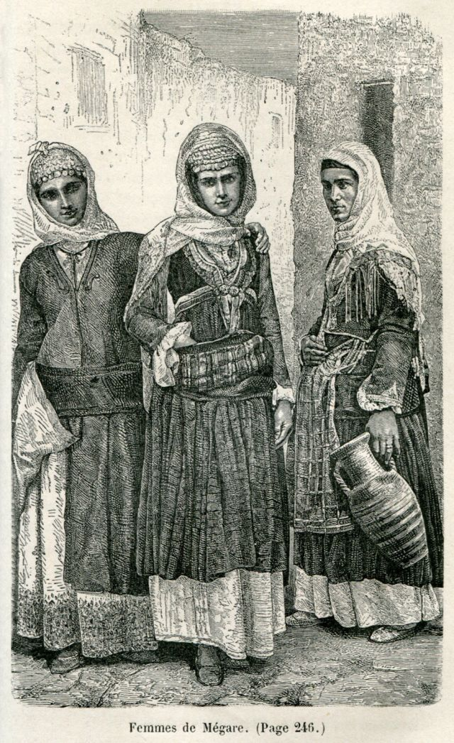 Γυναίκες από τα Μέγαρα, Αττική. Femmes de Mégare. Χρονολογία έκδοσης 1881  Έκδοση BELLE, Henri. Trois années en Grèce, Παρίσι, Librairie Hachette, 1881.