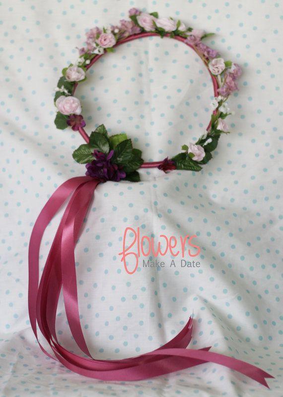 Purple and Pink Silk Flower Girl Head Wreath by FlowersMakeADate