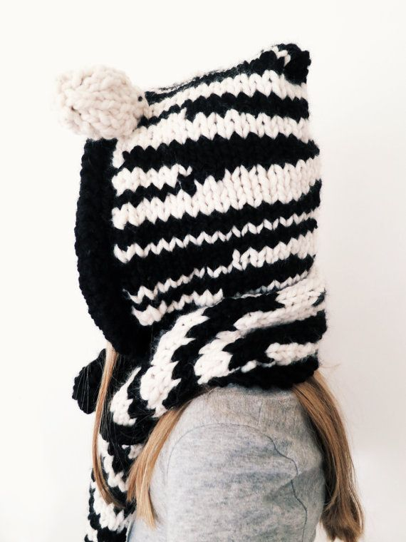 Knitting Pattern For Zebra Hat : PATTERN for Zebra Hat Hood Cowl Scarf Knit Toddler Child Adult // Ziggy the Z...