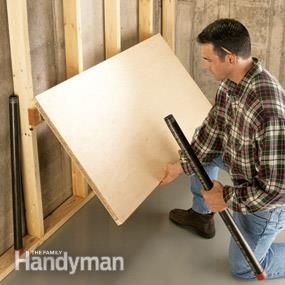 Great idea! If you're not using that work bench in your garage frequently, build the table top on hinges to fold it flush with the wall and save space in the garage