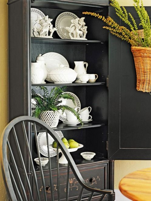 beautiful styling: Dining Rooms, Decor Ideas, China Cabinets, Black Cabinets, White Dishes, Baskets, White Cottages, White Ceramics, Black Hutch