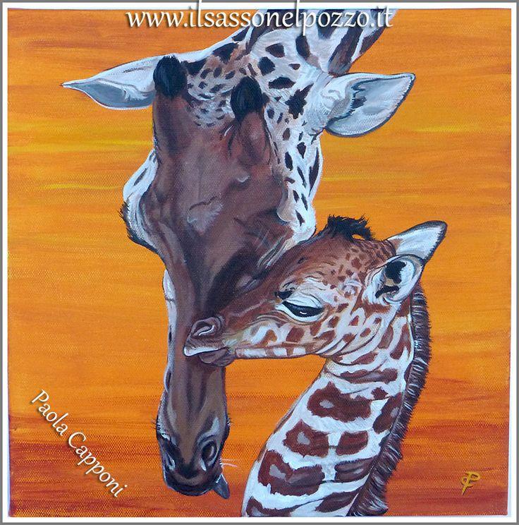 Giraffe Dipinto acrilico su tela 30x30x3 cm. Paola Capponi