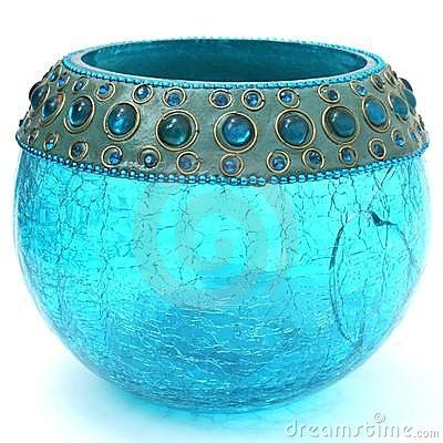 CRACKLED TURQUOISE BLUE VOTIVE (click image to zoom)  © Photomania | Dreamstime.com