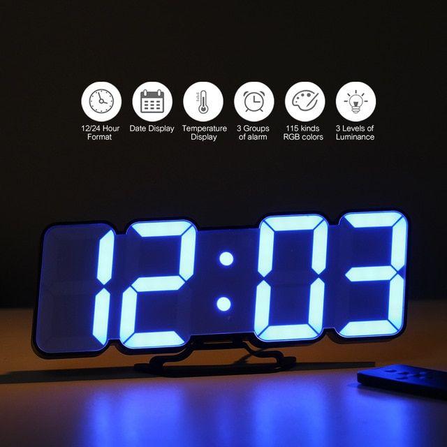 3d Wireless Remote Digital Wall Clock Usb Clock Display Led Alarm Clock With Temperature Date Sound Control Desktop C Alarm Clock Led Alarm Clock Clock Display