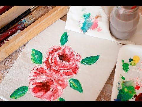 Como pintar rosas paso a paso - Speedpaint - Pintar rosas en tela - Tecnicas en manualidades - YouTube