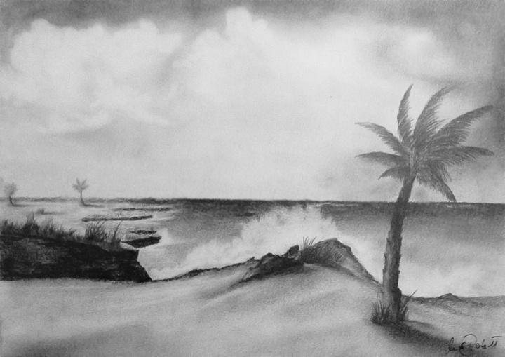 Seascape pencil drawing 2011  pencil drawings  Bleistiftzeichnungen
