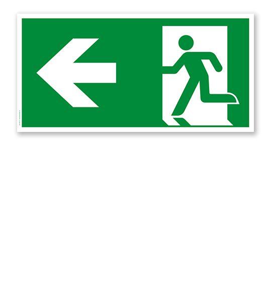 Fluchtwegschild Rettungsweg links nach DIN EN ISO 7010 #fluchtwegschild #rettungsweg