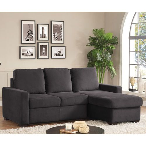 Chester Pullout Sofa With Storage Chaise   Charcoal Gray