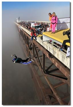 Bridge Day in West Virginia, big BASE jumping event where hundreds of BASE jumpers gather and perform.