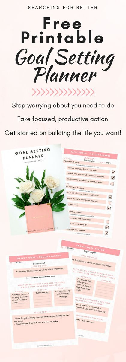 A free daily + weekly goals setting planner for organizing your goals. Whether it's for adults or for students, these worksheets/printables can be used for life goals, career goals or even fitness & body goals!