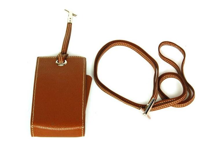 Hermes Tan Chevre Leather 'Planet' Cell Phone Case w. Wristlet/Shoulder Strap | From a collection of rare vintage handbags and purses at https://www.1stdibs.com/fashion/accessories/handbags-purses/