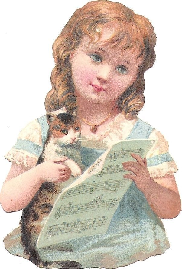 Oblaten Glanzbild scrap die cut chromo Kind child Katze cat  11,4cm kitten music