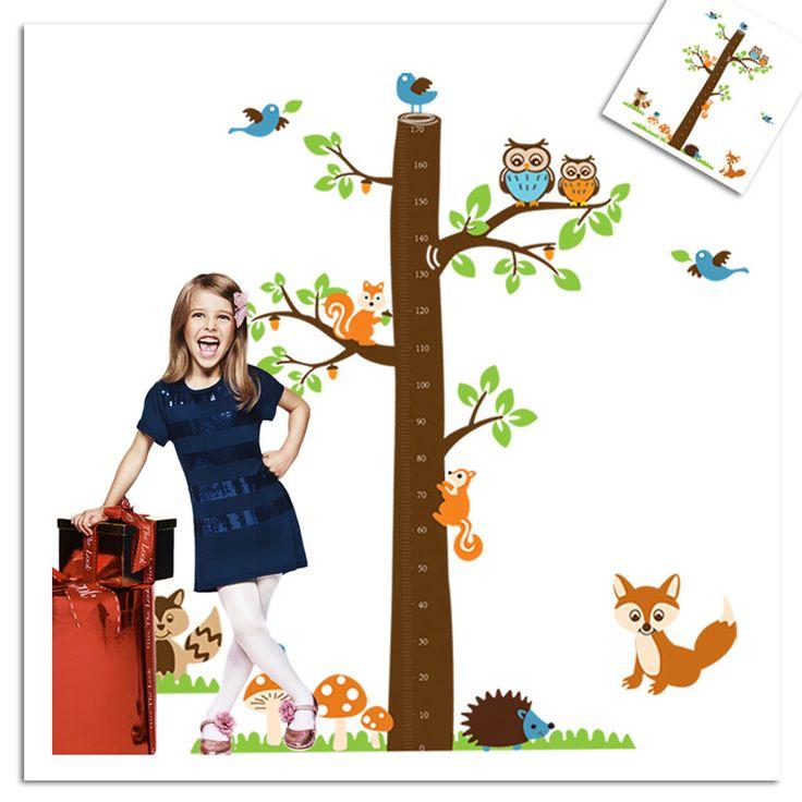 Европейский животных мультфильм сова лиса высота дети виниловые наклейки на стены детская комната стены наклейки на стены наклейки для детей номеров мальчиков девушка