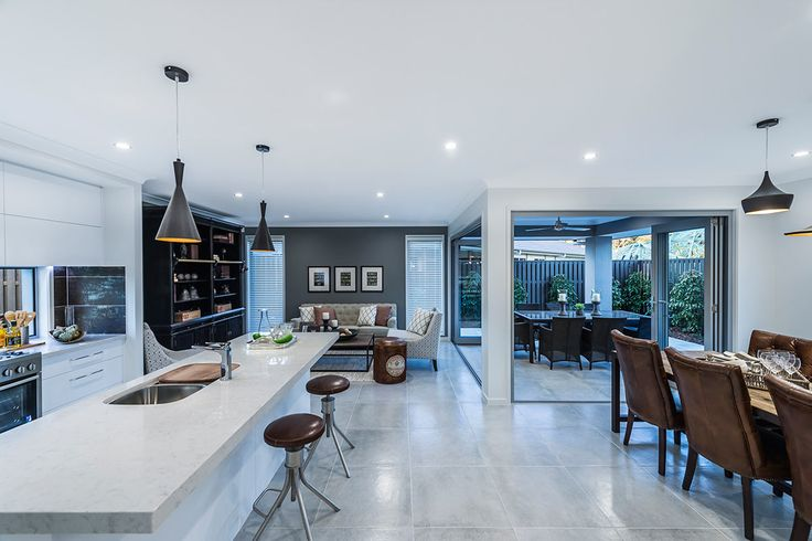#Living and #dinningroom #ideas from #Ausbuild's Ellison #display #home. www.ausbuild.com.au. Enjoy #open-plan living with a seamless flow from indoor to outdoor.