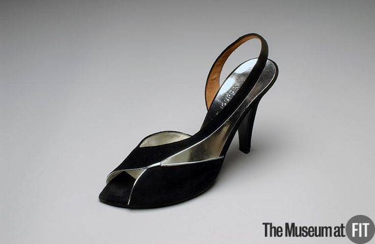 Charles Jourdan - France ca.1979  Black suede and silver metallic leather