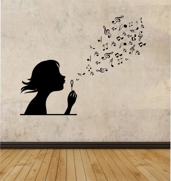 Girl Blowing Music Notes Vinyl Wall Decal Sticker Art Decor Bedroom Design Mural interior design family girl room