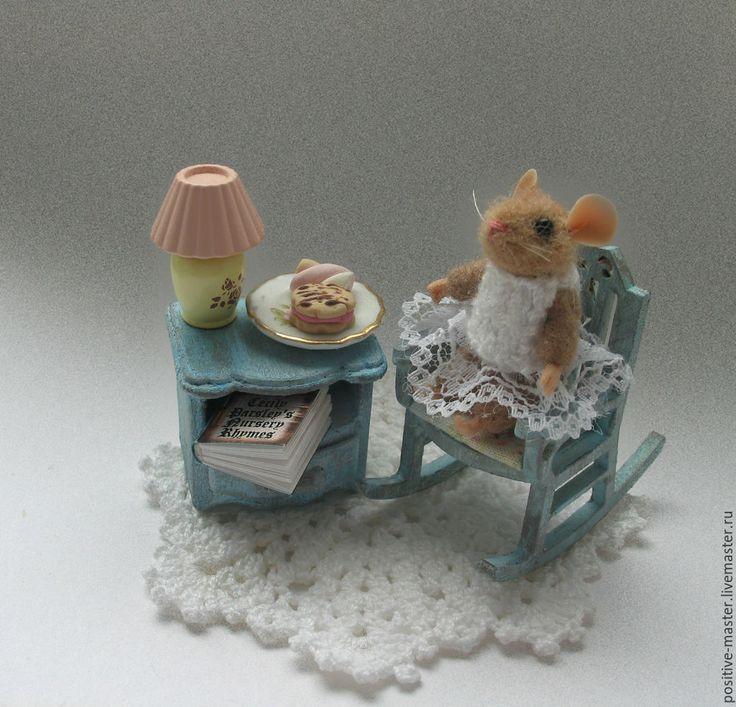 Миниатюрная мебель ручной работы для игрушечной мышки.Шебби шик / Miniature furniture for dolls