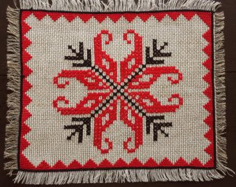 Small vintage cross stitch tablecloth
