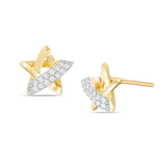1 10 Ct T W Diamond Star Stud Earrings In 10k Gold Star Earrings Stud Earrings Diamond Studs