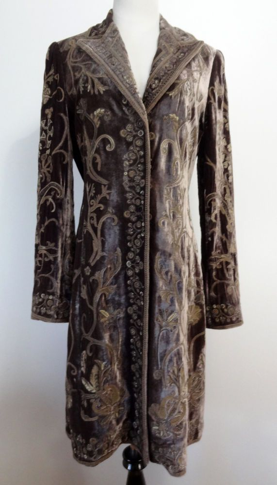1efb37eb2 Details about Elie Tahari Silk Velvet Embroidered Duster Coat ...