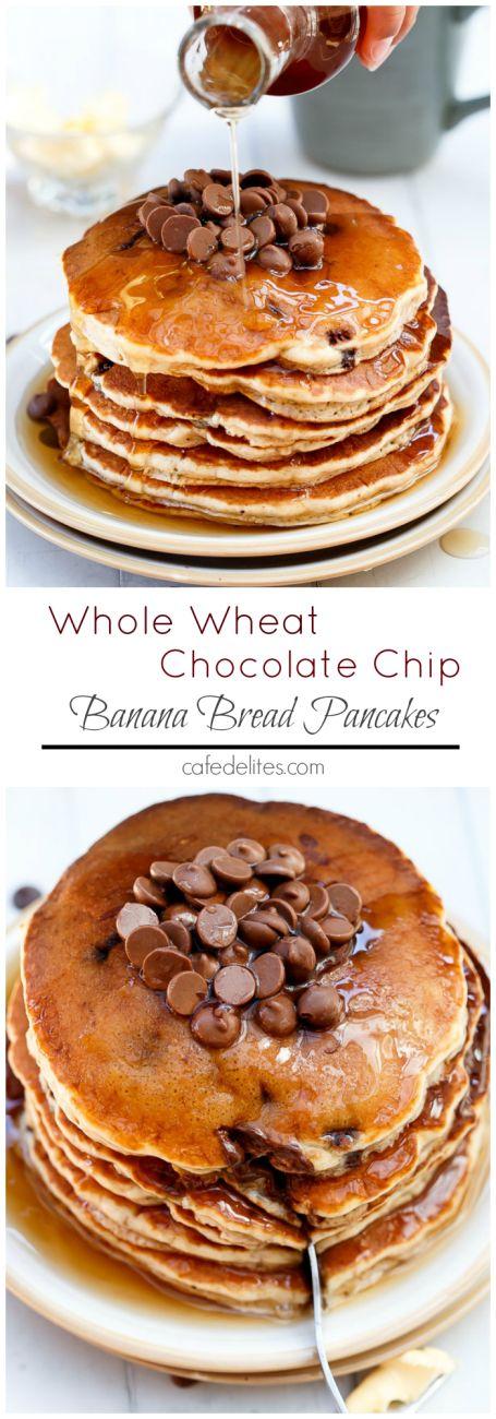 Choc Chip Banana Bread Pancakes on http://cafedelites.com